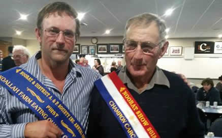 Winners: Greg Abbott won the Eating Quality sash and Don Castle the Grand Champion Carcass sash at the Noorat Show Carcass Competition.